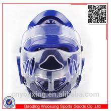 Martial arts equipment/taekwondo karate head guard with plastic mask