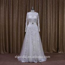 Long sleeves ruffle crystal sash beatiful skirt drappings fashion lace muslin wedding dress 2014