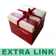 Custom Printed Wonderful Cardboard Paper Birthday Cake Box With Ribbon