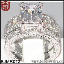 REGAL Emerald Cut CZ Bridal Engagement Wedding 3 PC. Ring Set