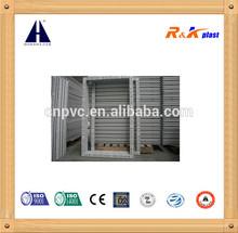 PVC sliding window without glass, own brand PVC profile 80mm depth frame pvc window, half moon lock sliding window