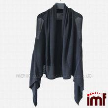 Top qualité 100% cachemire noir motif tricot Poncho pour les femmes