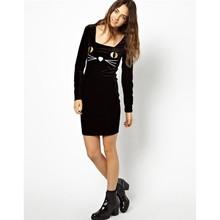 2014 Cat Pattern Plain Alibaba Dresses,Women Dresses,Black Long Sleeve Casual Dresses