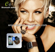 Free shipment Bluetooth Watch with caller name phone number display+dial on the watch+hang up & answer call E6