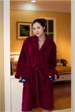 100% polyester coral fleece Ladies Robe cheap bathrobe for women long sleeved bathrobe