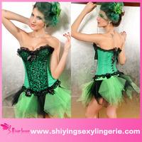 Classic Wholesale Elegant green lace trim waist slimming corset