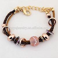 Europe Standard Zinc Alloy Woven Bracelet with Gemstone Resin Beads