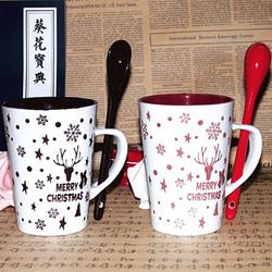 Creative cute couple of ceramic cup mug with spoon coffee mug