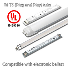 UL listed rotatable end caps T8 led tube lighting work with electronics ballast and magnetic ballast