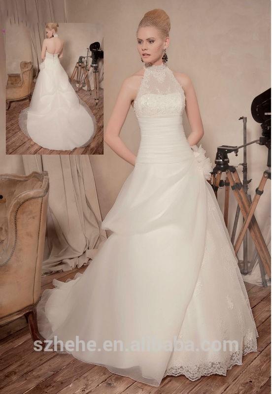 Jm. Bridals cy2993 tradicional de uma linha de gola alta appliques frisado vestidos de noiva organza fotos