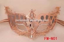wholesale gold rhinestone party wedding female face mask
