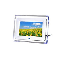 "7"" White Digital Photo Frame with Blue Lights + 2GB SD Memory Card"