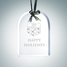Engraved Jade Glass Beveled Arch Christmas Tree Ornaments Crystal Glass Ornament Souvenirs gifts Ornament Wholesale