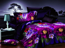 Purple Floral American Size Bed Sheet Set Cheap
