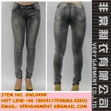 Wholesale ladies denim women acid wash skinny jeans grey denim fabric pants