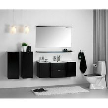 Beautiful Curved Design Single Mirror With Small Side Cabinet