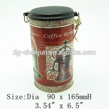 Skillful manufacture skillful design round airtight tin coffee box
