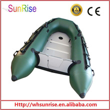 Army Green Inflatable Pontoon Boat With Wooden Floor