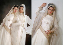 2014 Beautiful New Design White Color Long Sleeve Custom Made Online Hijab Bridal for Muslim Women TM1642 Muslim Wedding Dress