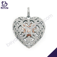 Hollow engraved heart silver cuban link chain hip hop necklace