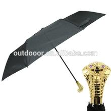 Snake Head Style Handle Rain Umbrella with LED Light (Golden)