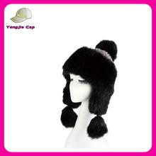 Christmas Wool & Faux Fox Fur Winter Mongolian Hat Ushanka Trapper Russian Style Hat in Black