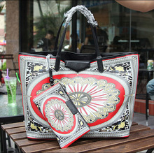 2014 latest charms new design colorful brand printing leather classical handbag EC7081A