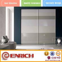 bedroom wall wardrobe design metal double glass sliding door cupboard