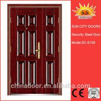cheap security exterior steel door glass inserts