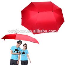 Couple Umbrella & Double Umbrella Large Wind Sunny folding beach Umbrella Family Necessary (Red)