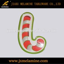 "14""X'mas cane shape melamine tray"