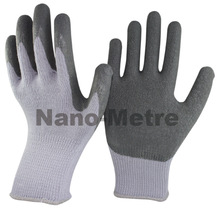 NMSAFETY 10 gauge knitted grey polyester coated grey latex on palm durable coating wrinkle latex gloves/work glove