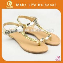Gold thong italian fashion women shoes summer sandals 2014