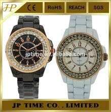 fashion stylish bright cz stone on bezel black white unique mens watches