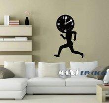 Black running man fun Wall Clock wall clocks for gym Fashion Modern Design Removable DIY Wall Sticker Decoration