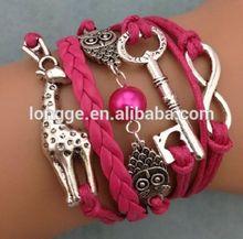 925 stering silver NEW Infinity Owl Giraffe Key Friendship Leather Charm Bracelet Silver cute