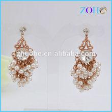 Newest top selling cluster pearl earring drop earring ZZED-081