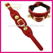 Hot sale corium leather bracelet with copper adorn