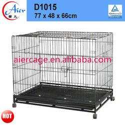 square tube folding dog cage with wheels