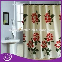 Flower printing polyester bathroom shower curtain fabric