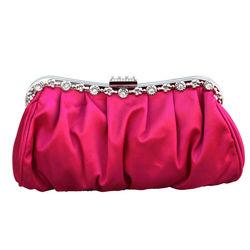 2014 Hot Sale Crystal Diamond Silver Chain Matte Fabrics Satin Clutch Bag