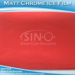 SINO CAR STICKER 1.52x20M 5x65FT Air Bubble Free Red Car Body Matt Chrome Vinyl Wrap