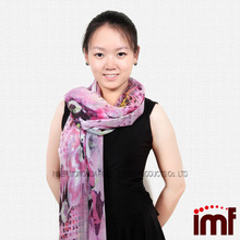Cashmere & Modal Blend Girls Pink Leaf Flower Scarf Wraps