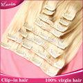 Baratos 100% clip del pelo humano en la extensión del pelo