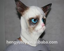 2014 Hot Selling Rubber Halloween Mask Novelty Fancy Dress Costume Latex Grumpy Cat Head Mask