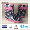 hot sale pink five-pointed star print cheap custom print rubber wellington manufacturer