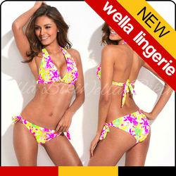 WELLA LINGERIE hot sale triangle sexy bikini breathable double push up bandage floral painting women super mini girls bikini