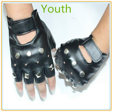 Night club dance fingerless leather men's gloves with spike punk on the back