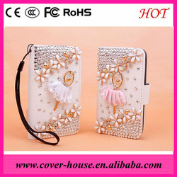 3D diamond dancing girl PU leather case for Samsung N7100