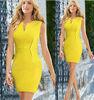 Newest Fashion Women Elegant yellow bandage dress sleeveless Zipper Party Casual Pencil Dress plus size
